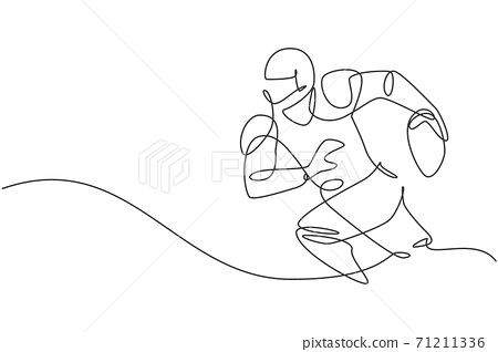 Single continuous line drawing of young agile man american football player running while hold the ball for competition media. Sport exercise concept. Trendy one line draw design vector illustration 71211336
