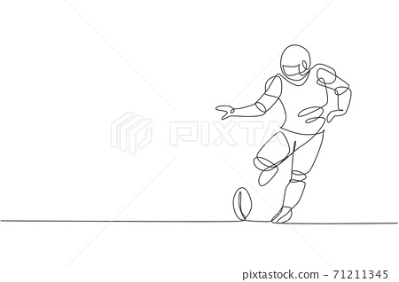 One continuous line drawing of young sporty american football player kicking the ball hard at arena for competition poster. Sport teamwork concept. Dynamic single line draw design vector illustration 71211345