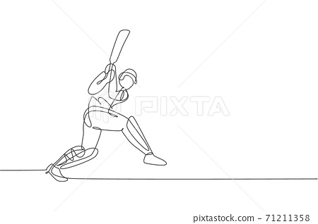 One single line drawing young energetic man cricket player hit the ball to make home run graphic vector illustration. Sport concept. Modern continuous line draw design for cricket competition banner 71211358