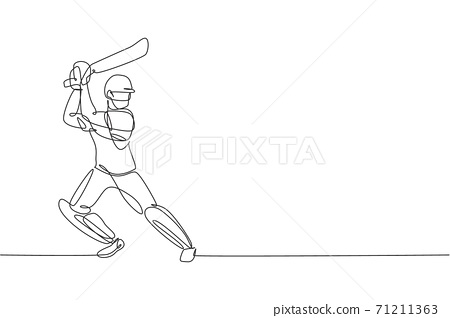 Single continuous line drawing of young agile man cricket player standing and practice to swing bat vector illustration. Sport exercise concept. Trendy one line draw design for cricket promotion media 71211363