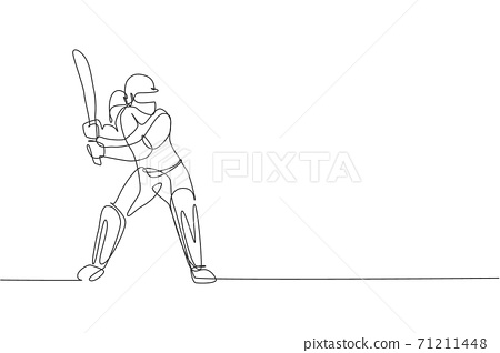 One single line drawing of young energetic woman cricket player stance standing to receive a ball vector illustration. Sport concept. Modern continuous line draw design for cricket competition banner 71211448