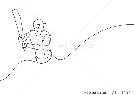 Single continuous line drawing of young agile man cricket player practice seriously at sport field vector illustration. Sport exercise concept. Trendy one line draw design for cricket promotion media 71211454
