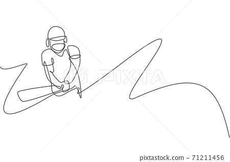 One continuous line drawing of young happy man cricket player hit the ball to home run vector illustration. Competitive sport concept. Dynamic single line draw design for cricket advertisement poster 71211456