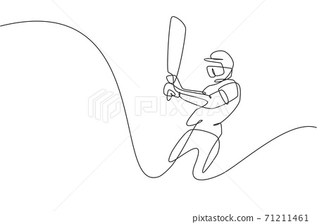 Single continuous line drawing of young agile man cricket player swing cricket bat at training ground vector illustration. Sport exercise concept. Trendy one line draw design for sport promotion media 71211461