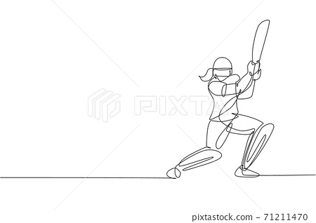 One continuous line drawing of young happy woman cricket player focus to hit the ball at field vector illustration. Competitive sport concept. Dynamic single line draw design for advertisement poster 71211470