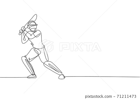 One continuous line drawing of young happy man cricket player standing to practice bat swing vector illustration. Competitive sport concept. Dynamic single line draw design for advertisement poster 71211473