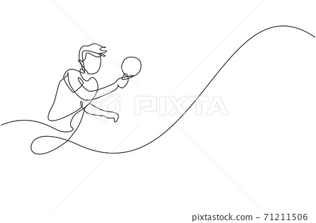 Single continuous line drawing of young agile man table tennis player focus practicing. Sport exercise concept. Trendy one line draw design vector illustration for ping pong tournament promotion media 71211506