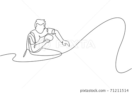 One single line drawing of young energetic man table tennis player ready to hit the ball vector illustration. Sport training concept. Modern continuous line draw design for ping pong tournament banner 71211514