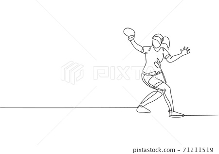 One continuous line drawing of young sporty woman table tennis player hit the ball. Competitive sport concept. Single line draw design graphic vector illustration for ping pong championship poster 71211519