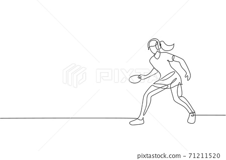 Single continuous line drawing of young agile woman table tennis player hold the ball. Sport exercise concept. Trendy one line draw design vector illustration for ping pong tournament promotion media 71211520