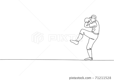 Single continuous line drawing young agile man baseball pitcher practice to throw the ball. Sport exercise concept. Trendy one line draw design vector graphic illustration for baseball promotion media 71211528