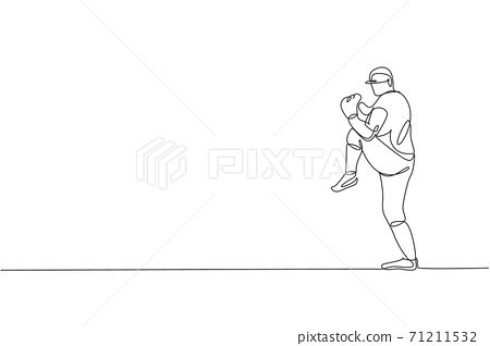 One continuous line drawing of young sporty man baseball pitcher practice to hit the ball. Competitive sport concept. Dynamic single line draw design vector illustration graphic for promotion poster 71211532
