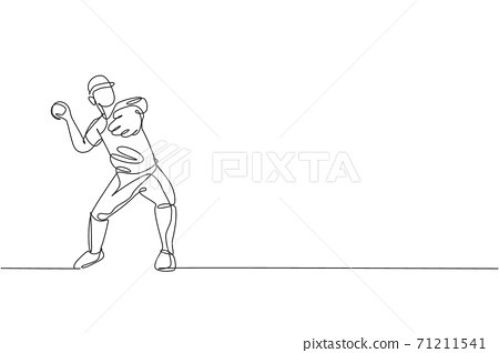 Single continuous line drawing young agile man baseball player practice to throw the ball. Sport exercise concept. Trendy one line draw design graphic vector illustration for baseball promotion media 71211541