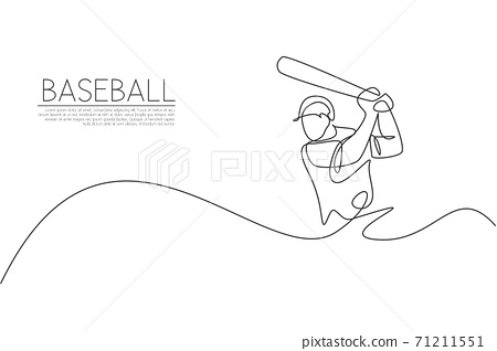 One single line drawing of young energetic man baseball player practice to hit the ball vector illustration. Sport training concept. Modern continuous line draw design for baseball tournament banner 71211551