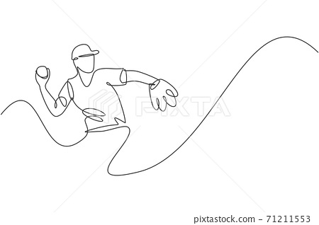 One continuous line drawing of young sporty man baseball player focus practice to throw the ball. Competitive sport concept. Dynamic single line draw design vector illustration for promotion poster 71211553
