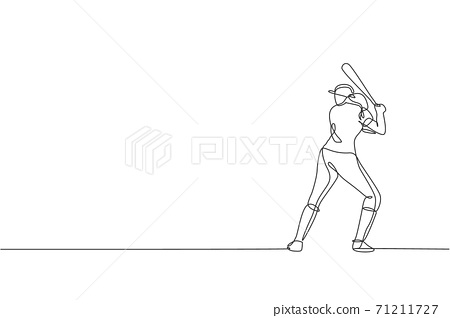 One continuous line drawing of young sporty woman baseball player practice to hit the ball at field. Competitive sport concept. Dynamic single line draw design vector illustration for promotion poster 71211727