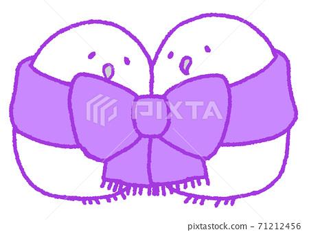 Owl snuggling up (ribbon, purple) 71212456