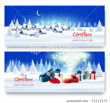 Holiday Christmas and New Year Banners with a Village Landscape and presents with magic box. Vector. 71213173