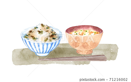 Watercolor painting of edible wild plants rice and miso soup 71216002