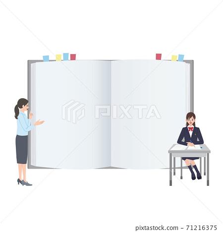 筆記,老師和學生框架,學校形象,高中女生插圖 71216375