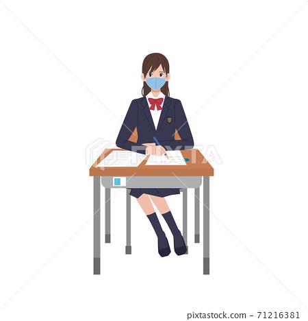 戴著面具學習的製服的女人的插圖 71216381