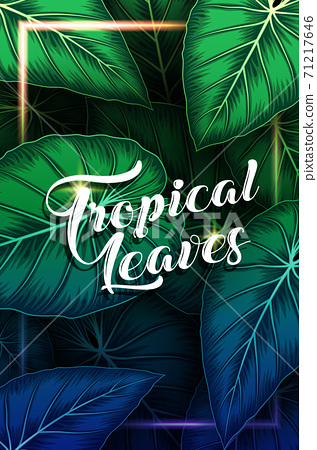 Exotic pattern with tropical leaves background 71217646