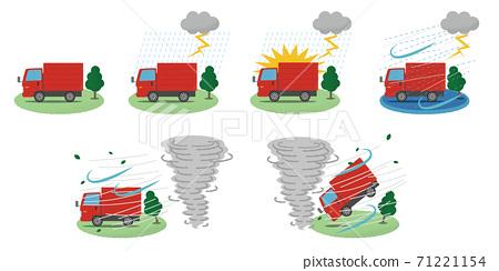 矢量插圖集的紅色卡車被龍捲風和閃電損壞 71221154