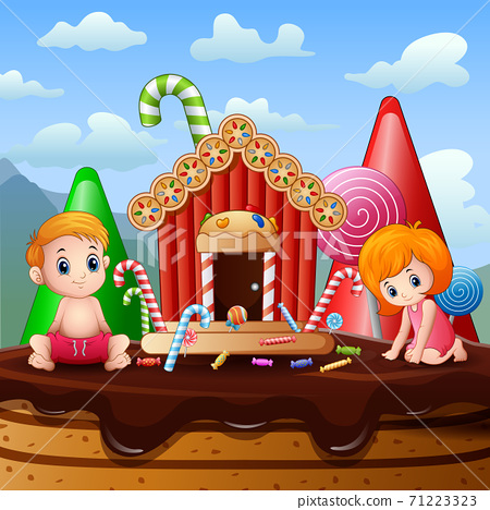 Little kids playing in a sweet land illustration 71223323