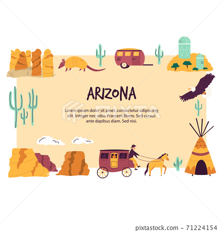 Abstract banner with famous symbols and landmarks of Arizona state. 71224154