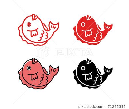 鯛魚圖標集/真鯛魚/金鯛魚/泰國/插圖/新年賀卡/新年/幸運符/材料/新年/簡單 71225355