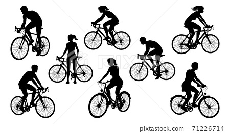 Bicycle Riding Bike Cyclists Silhouettes Set 71226714