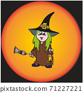 Vector. A funny little witch with a lantern, Vector EPS 10 71227221