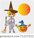 Vector. A witch with a Halloween pumpkin, Vector EPS 10 71227222