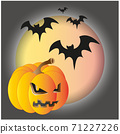 Illustration of Halloween pumpkin with Moon and bats in black background, Vector EPS 10 71227226
