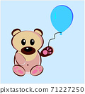 An Illustration of a teddy bear with an air balloon. Vector EPS 10 71227250
