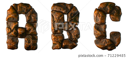 Set of rocky letters A, B, C. Font of stone on white background. 3d 71229485