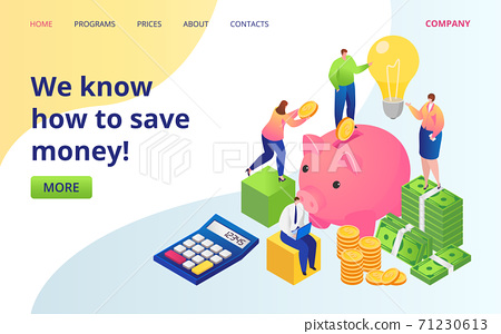 Save money service landing page flat vector illustration. Golden coins, dollars currency and piggy bank. Save money investments company web site. 71230613