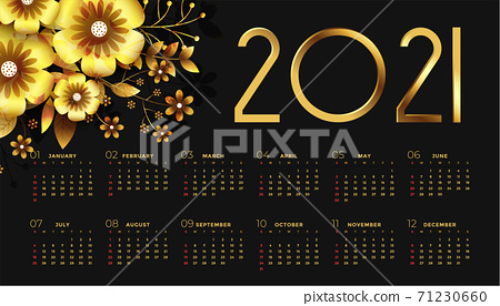 2021 new year black and golden calendar design with flowers 71230660
