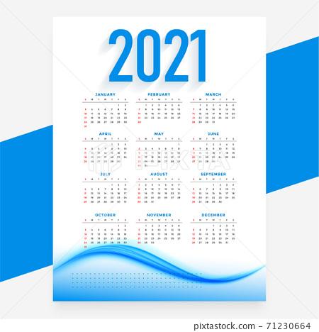 modern blue 2021 new year calendar design wavy template 71230664