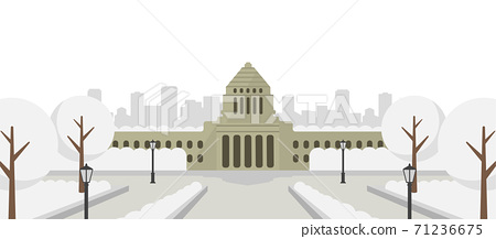 Front view of the Japanese Diet Building / Winter / snow scene 71236675