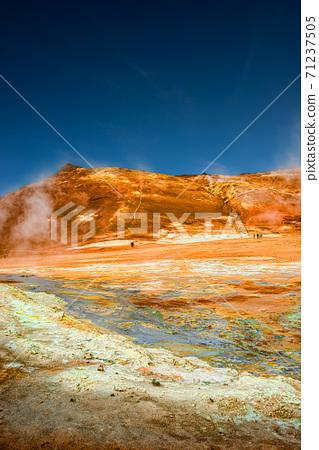 Martian landscape at Hverir geothermal active zone near Myvatn lake in Iceland at blue deep sky, summer 71237505