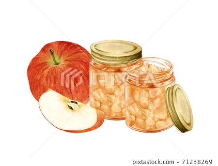 사과와 사과 잼 수채화 풍의 일러스트 71238269