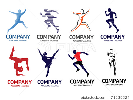 modern abstract running fitness and yoga logo set, abstract active sport logo 71239324