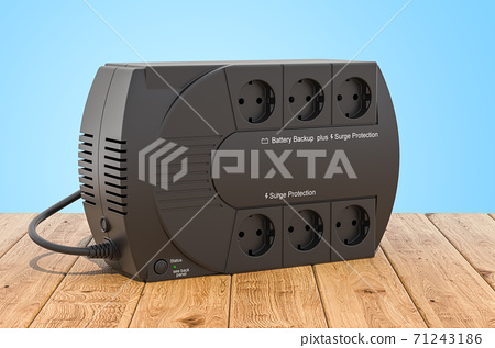 Uninterruptible power supply, UPS on the wooden planks, 3D rendering 71243186