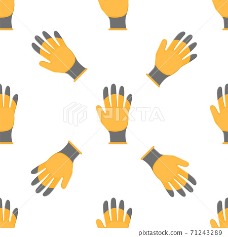 Seamless pattern with cartoon yellow rubber gloves on white background. Gardening tool. Vector illustration for any design. 71243289