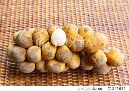 fruits of lagastan, longkong yellow with white core branch tropical closeup 71245633