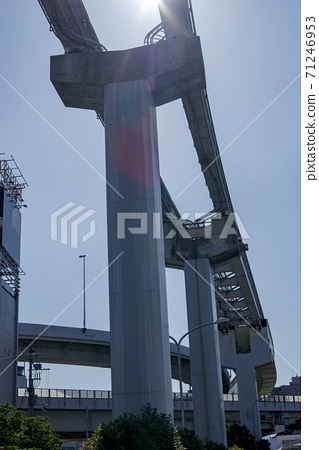 Scenery with intersecting highways and monorail tracks 71246953