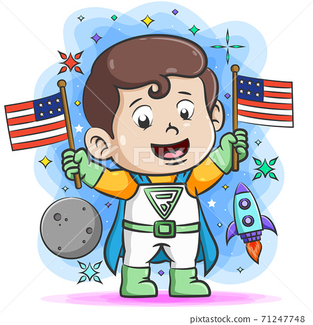 The super boy holding two flag in his hand around the space things 71247748
