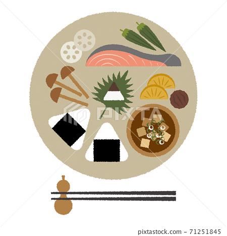 一盤飯插圖的飯糰和日本料理 71251845