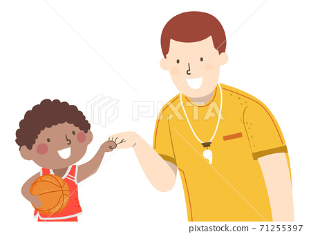Kid Boy Basket Ball Coach Fist Bump Illustration 71255397